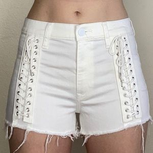 White Express Shorts with Shoelace Front Detail